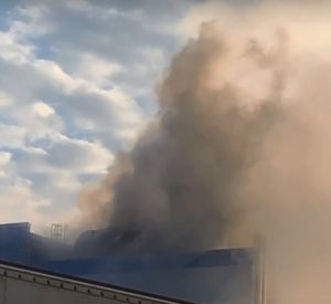 В Гагарине горящий молокозавод сняли на видео