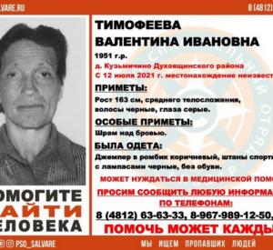 В Смоленской области пропала босая 70-летняя женщина со шрамом