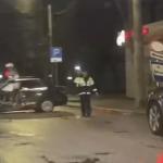 На улице Фрунзе иномарка протаранила столб (видео)