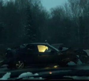 В сети появилось видео, на котором запечатлены последствия жёсткой аварии под Смоленском